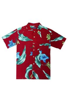Рубашка с коротким рукавом гавайка Puritan мужская красная